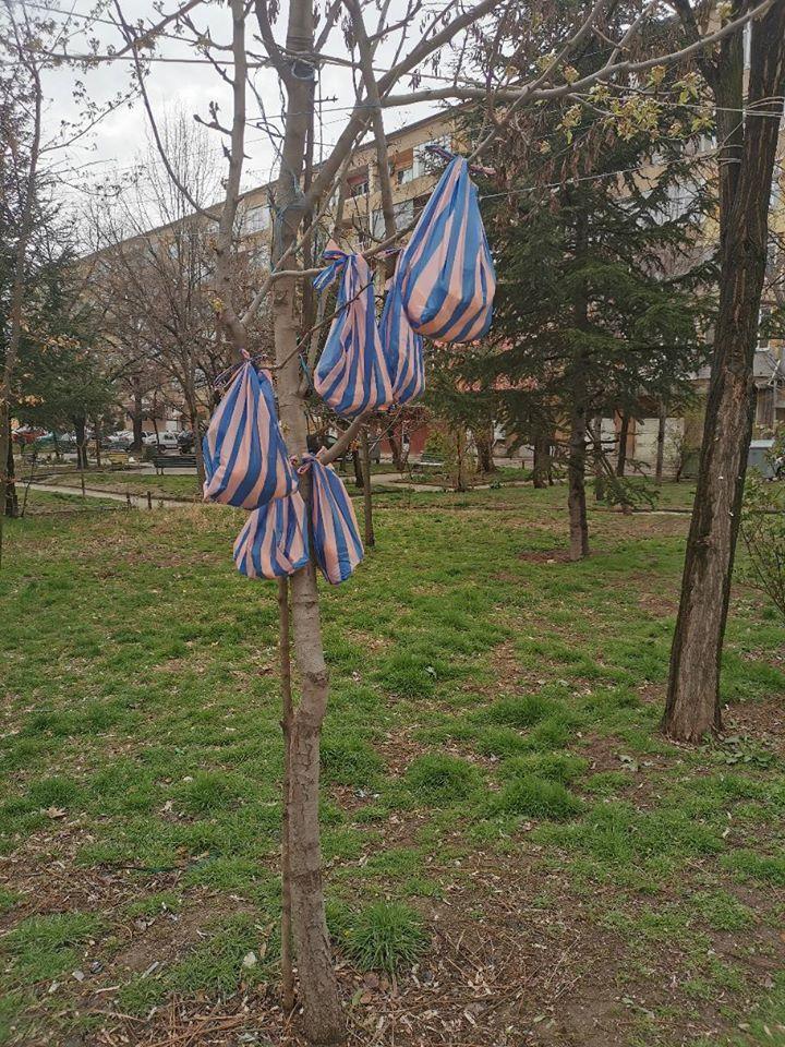 Танцьор от ансамбъл  Пирин  оставя торбички с храна по дърветата за бедните